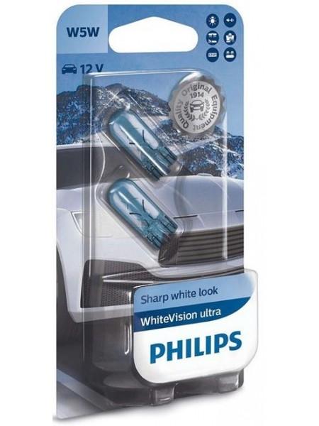 Лампа накаливания Philips W5W WhiteVision Ultra, 2шт/блістер