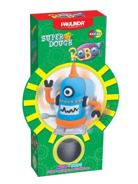 Маса для ліплення Paulinda Super Dough Robot заводний механізм (крокує), блакитний PL-081178-6