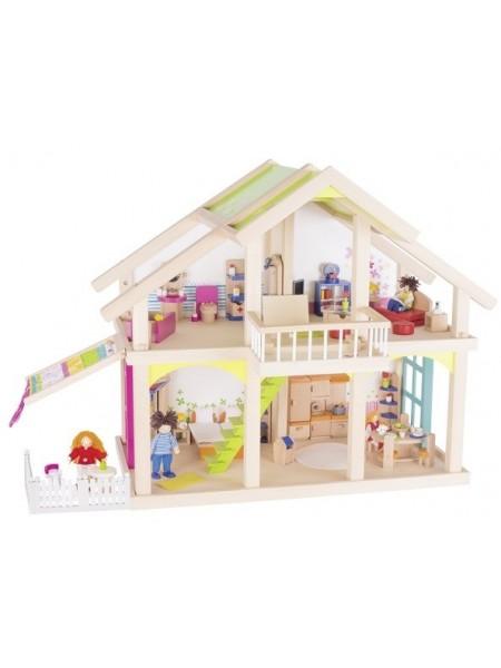 Ляльковий будиночок goki 2 поверхи з внутрішнім двориком Susibelle 51588G