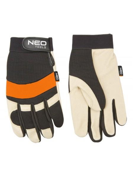 Рукавички робочі NEO, шкіра/PCV/неопрен, р. 10.5, стійкість: знос 3, поріз 1, роздир. 1, прокол 1, C