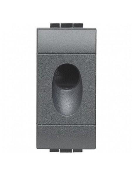 Bticino Заглушка з отвором 9 мм, 1 модуль, чорна
