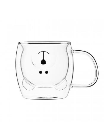 Набір чашок з ручками Ardesto Animals з подвійними стінками, 250 мл, 2 од., боросилікатне скло (AR26