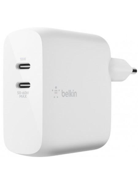 Мережевий ЗП Belkin GAN (50+18W) Dual USB-С, white (WCH003VFWH)