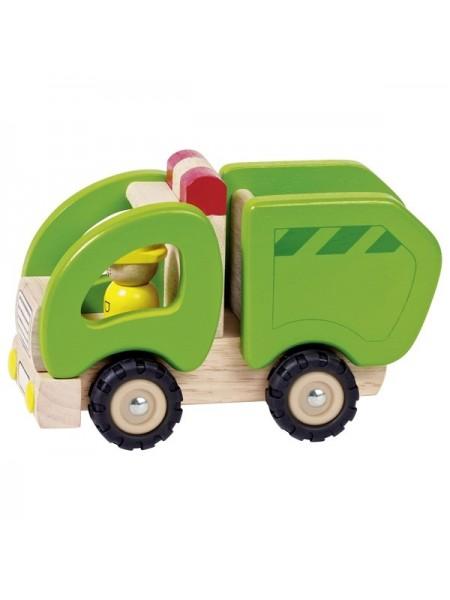 Машинка деревяна goki Сміттєвоз (зелений) 55964G