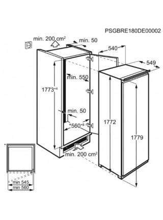 Встр. мороз. камера Electrolux RUT6NF18S, 177х55х55см, 1 дв., Мороз. відд. - 204л, A+, NF, Білий
