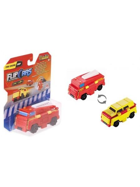 Машинка-трансформер Flip Cars 2 в 1 Пожежний автомобіль і Позашляховик