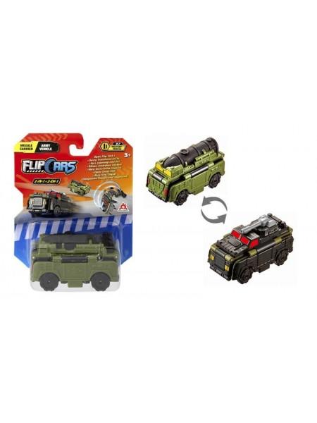 Машинка-трансформер Flip Cars 2 в 1 Ракетоносець і Армійський автомобіль