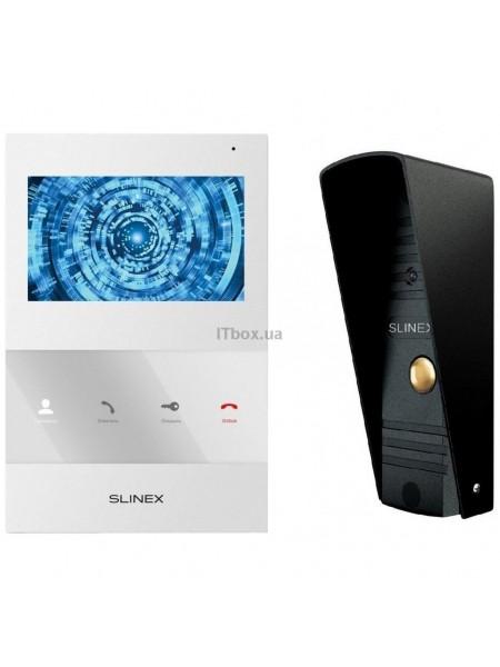 Комплект відеодомофона Slinex SQ-04M білий + Панель виклику  Slinex ML-16HR чорна