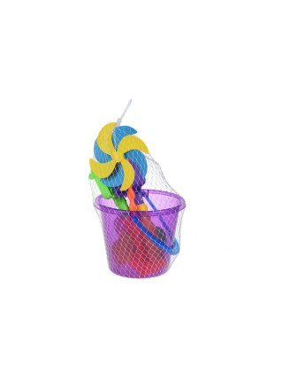 Набір для гри з піском Same Toy с Воздушною вертушкою(фіолетове відро) 8 шт HY-1207WUt-3