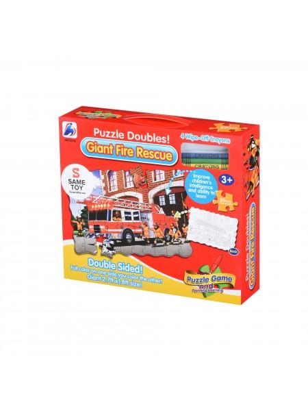 Пазл-розмальовка Same Toy Пожежна машина 2038Ut