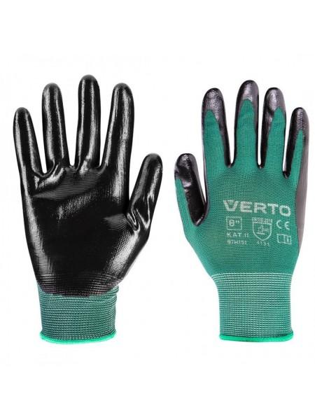 Рукавички садові Verto, нітрилові покриттям, р. 8 (97H151)