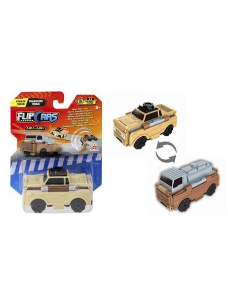 Машинка-трансформер Flip Cars 2 в 1 Парадна вантажівка і Автоцистерна