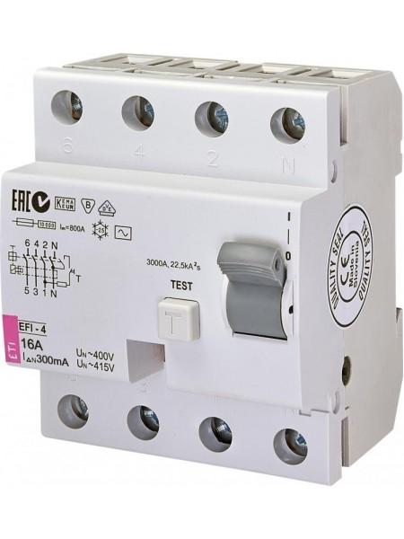 Реле диференційне ETI (УЗО) EFI-4 AC 16/0.3 тип AC (10kA)