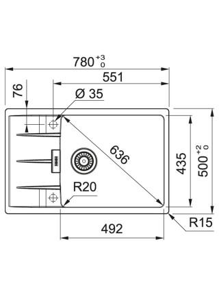 Кухонні мийки Franke Centro CNG 611-78 XL /114.0630.434/фраграніт/780х500х20/ онікс