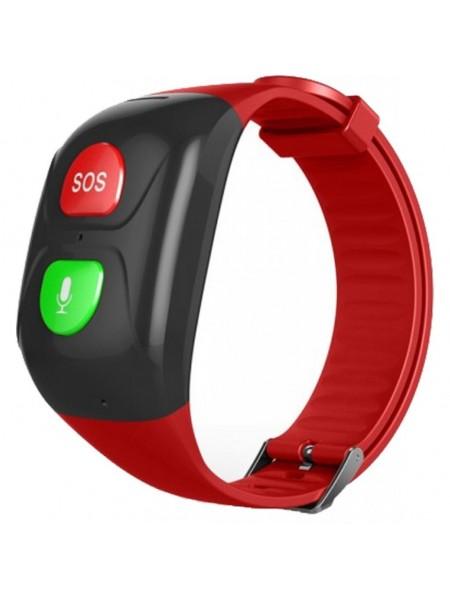 Телефон-годинник з GPS трекером GOGPS М03 кнопка SOS  чорні з червоним (M03BKRD)