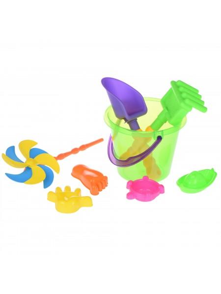 Набір для гри з піском Same Toy з Повітряної вертушой 8 шт (зелене відерце) HY-1207WUt-1