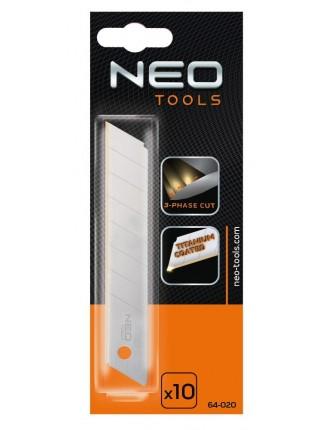 Леза NEO 64-020 змінні відламуються, 18 мм, набір 10 шт.