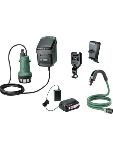 Насос дренажний Bosch Garden Pump акумуляторний, занурювальний, 18В, 2000 л/год, до 30хв (0.600.8C4.