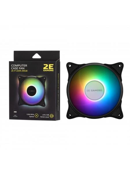 Корпусний вентилятор 2E GAMING (F120IR-ARGB), 120мм, 3+3pin 5V Aura, чорні лопаті,рамка, inner LED