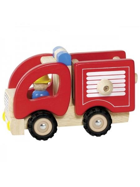 Машинка деревяна goki Пожежна (червоний) 55927G