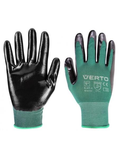 Рукавички садові Verto, нітрилові покриттям, р. 9 (97H152)