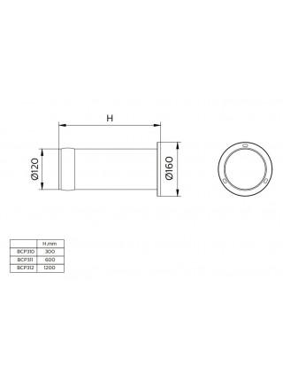 Парковий світильник стовпчик Philips BCP312 LED760/WW 15W 100-240V Cyl BK 120мм