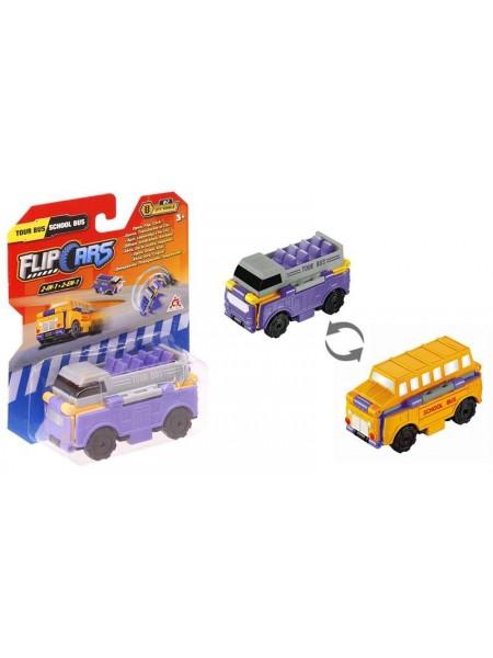 Машинка-трансформер Flip Cars 2 в 1 Туристичний і Шкільний автобус