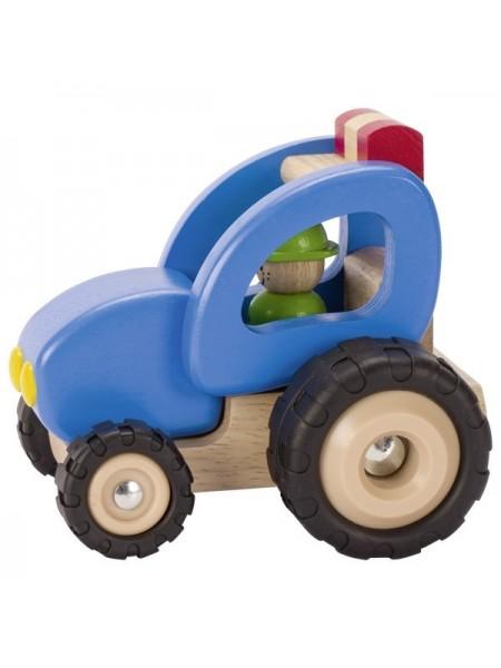 Машинка дерев'яна goki Трактор (синій) 55928G
