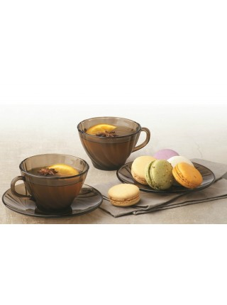 Набір чашок 180 мл та блюдець Beau Rivage Creole 12 предметів (димчасте скло)