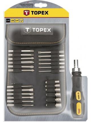Набір TOPEX: насадки і змінні головки з тримачем, 26 од.
