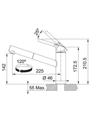 Змішувач Franke Orbit Pull Out/115.0623.057/з витяжним виливом/ одноричажний/ хром-онікс