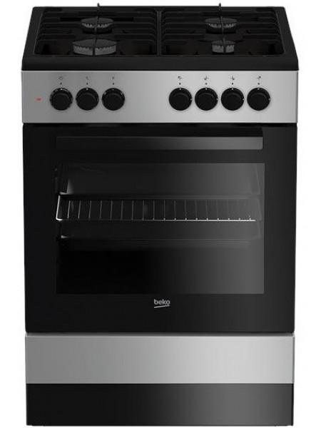 Плита комбінована Beko FSM62120DS - 60х60 см/4 конфорки/эмал. решітки/65л/8 прогр./срібний колір