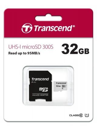 Карта пам'ятi Transcend 32GB microSDHC C10 UHS-I R95/W20MB/s + SD адаптер (TS32GUSD300S-A)