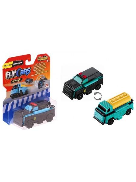 Машинка-трансформер Flip Cars 2 в 1 Поліцейський позашляховик і Автоцистерна