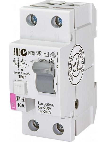 Реле диференційне ETI (УЗО) EFI-2 16/0,3 тип AC (10kA)