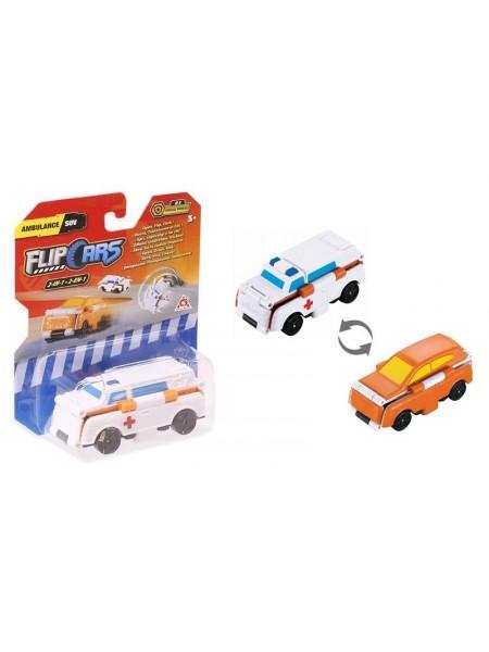 Машинка-трансформер Flip Cars 2 в 1 Швидка допомога і Позашляховик
