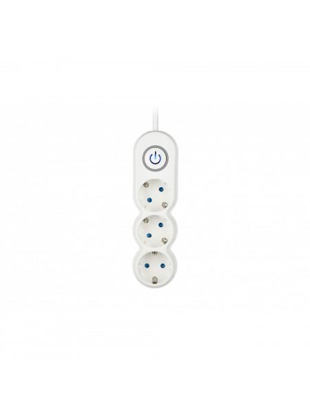 Мережевий фільтр 2Е Plus 3XSchuko з вимикачем, 3G*1.0мм, 3м, white (2E-U03VES3M)