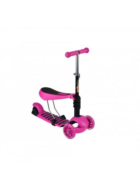 Триколісний самокат-біговел Same Toy з сидінням (рожевий) SY-S171Ut-3