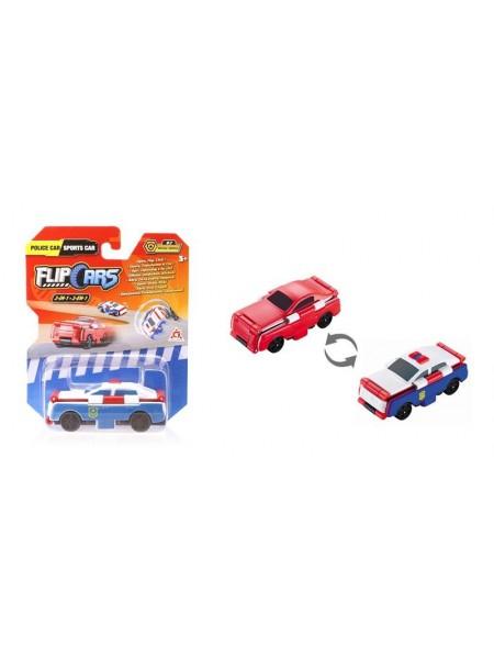 Машинка-трансформер Flip Cars 2 в 1 Поліцейський автомобіль і Спорткар