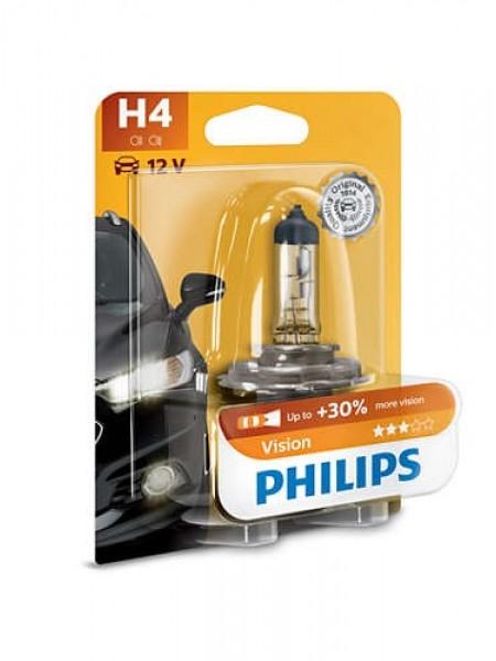 Лампа галогенна Philips H4 Vision, 3200K, 1шт/блістер