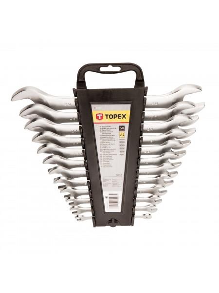 Ключ TOPEXi з вiдкритим зевом, двостороннi,  6 x 32 мм, набiр 12 шт.*1 уп.