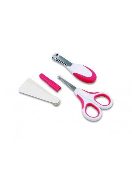 Набір по догляду за дитиною Nuvita 0м+ Рожевий Безпечні ножиці з акс. NV1138Pink