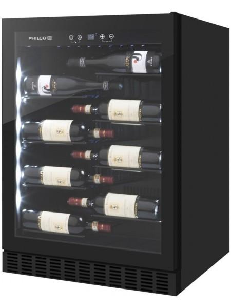 Винна шафа вбудована Philco PW40LV/40 бутилок/5-22 С/Led-підсвітка/сенсор/дисплей/черний
