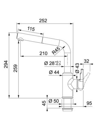 Змішувач Franke Urban/115.0595.091/фраграніт/з витяжним виливом/поворотний/одноричажний/хром-онікс