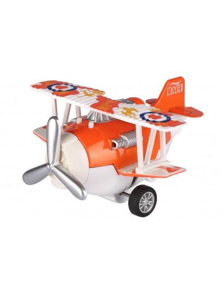 Літак металевий інерційний Same Toy Aircraft помаранчевий зі світлом і музикою SY8012Ut-1