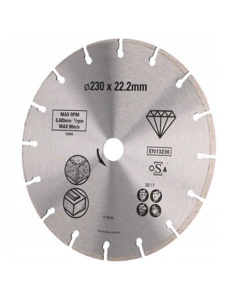 Диск алмазний STANLEY 230x22.2 бетон/цегла сегментований