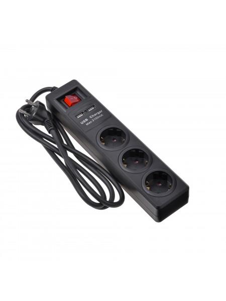 Мережевий фільтр 2Е 3XSchuko із захистом, з вимикачем, 2хUSBх 2.1А 3G*1.5мм, 1.8м, black (2E-U03ESUM