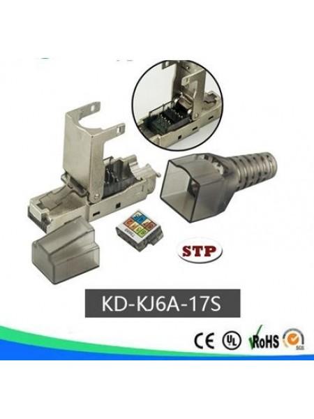 Конектор безінструментальний RJ45, CAT 6A, STP Kingda KD-KJ6A-17S