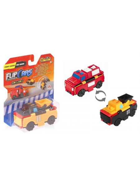 Машинка-трансформер Flip Cars 2 в 1 Фронтальний навантажувач і Пожежний автомобіль