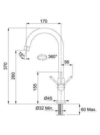 Змішувач Franke Fox /115.0250.143/ поворотний/одноричажний/хром
